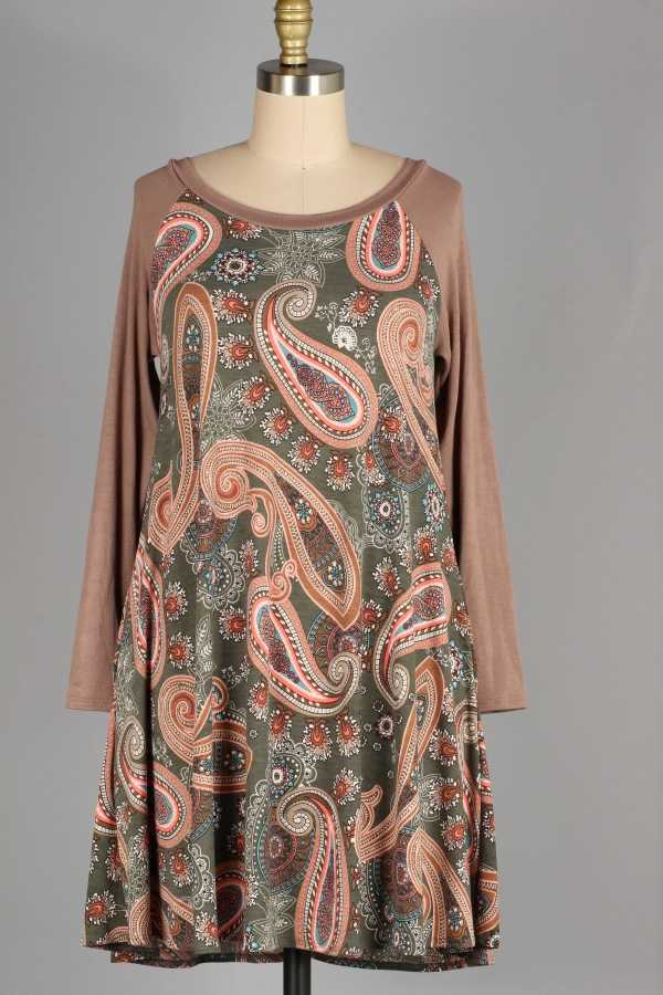PAISLEY CONTRAST DRESS W POCKETS