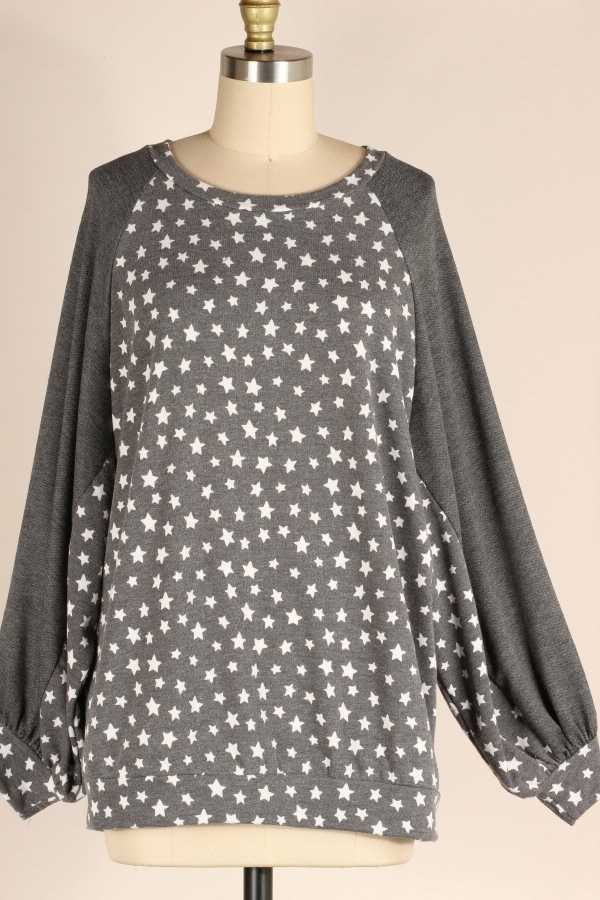 PLUS SIZE-LOOSE FIT STAR PRINT CONTRAST TUNIC TOP