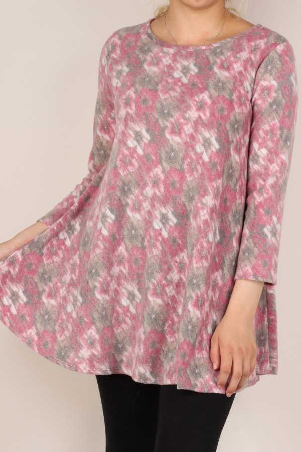 PLUS SIZE-FLORAL & TIE DYE PRINT DETAIL TUNIC TOP