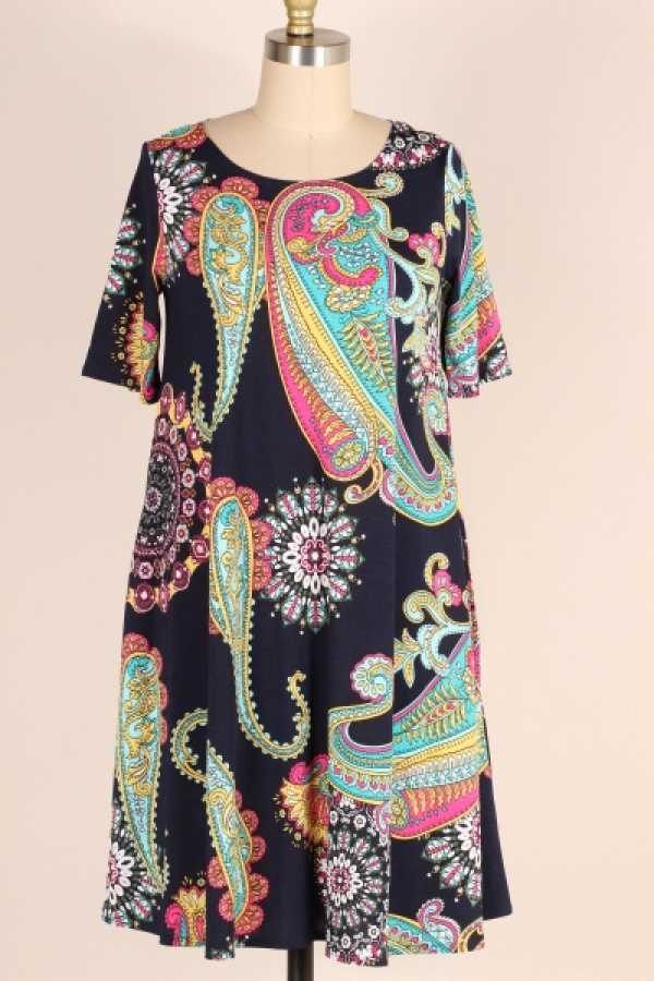 PLUS SIZE-SIDE POCKETS DETAIL PAISLEY DRESS