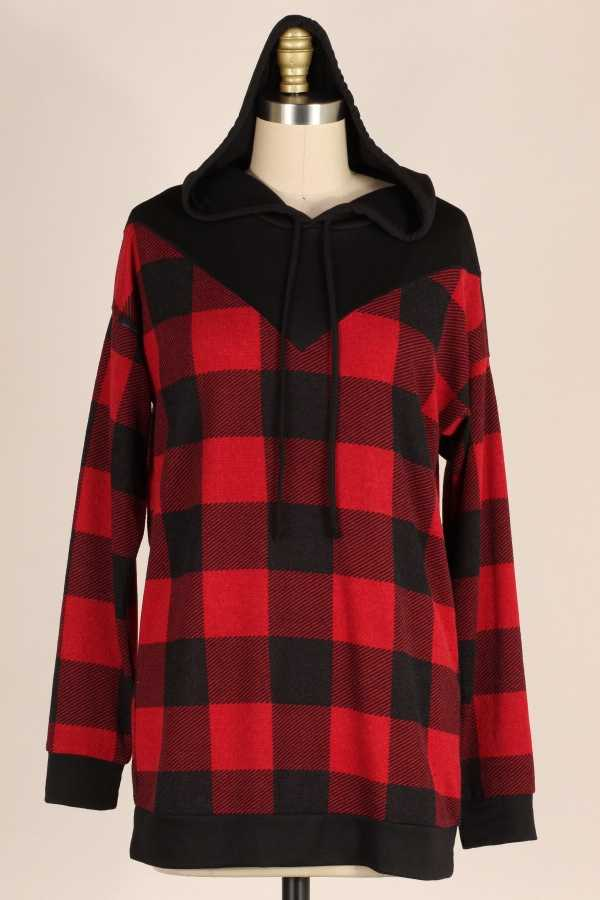 PLAID KNIT HOODIE TUNIC TOP