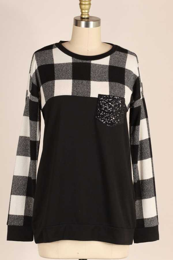 SEQUINS POCKET DETAIL PLAID KNIT TUNIC TOP