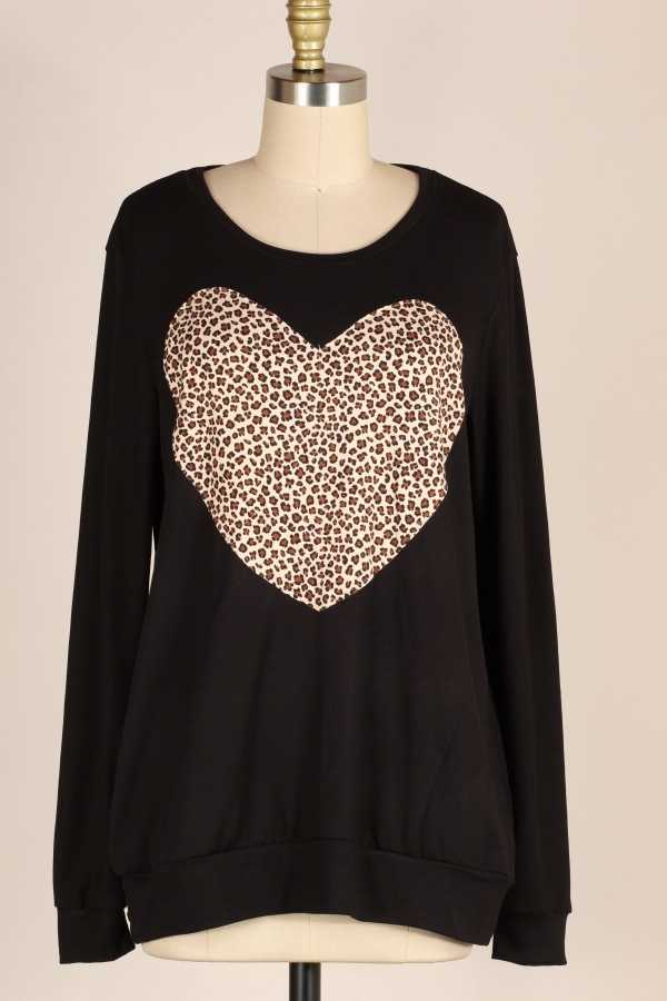 LEOPARD HEART PATCH DETAIL TUNIC TOP