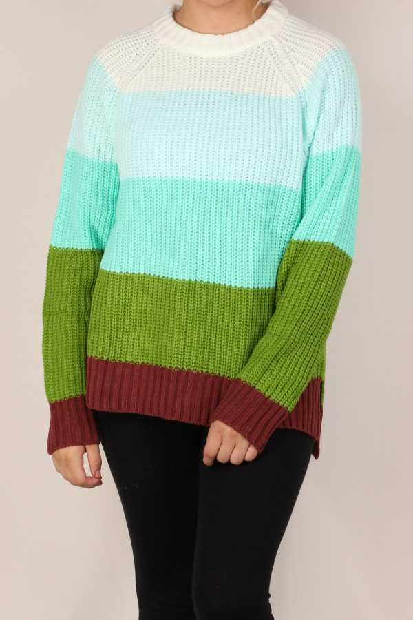 COLOR BLOCK SWEATER TUNIC TOP