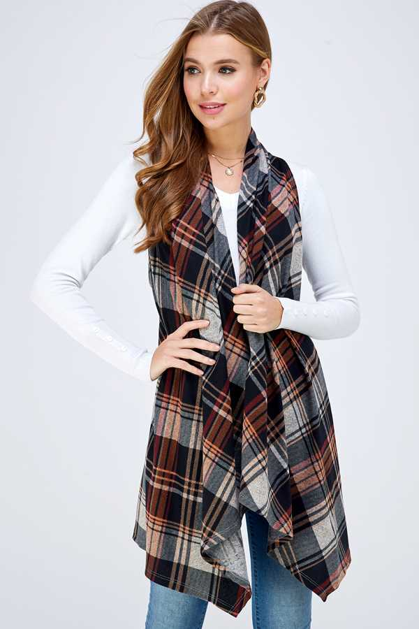 PLUS SIZE PLAID PRINT ASYMMETRICAL VEST
