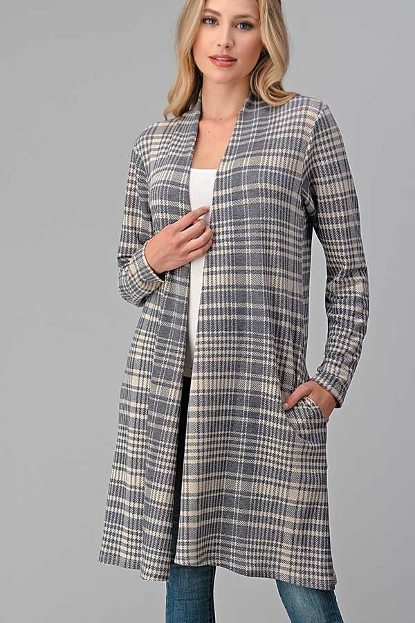 PLAID PRINT OPEN CARDIGAN WITH POCKETS