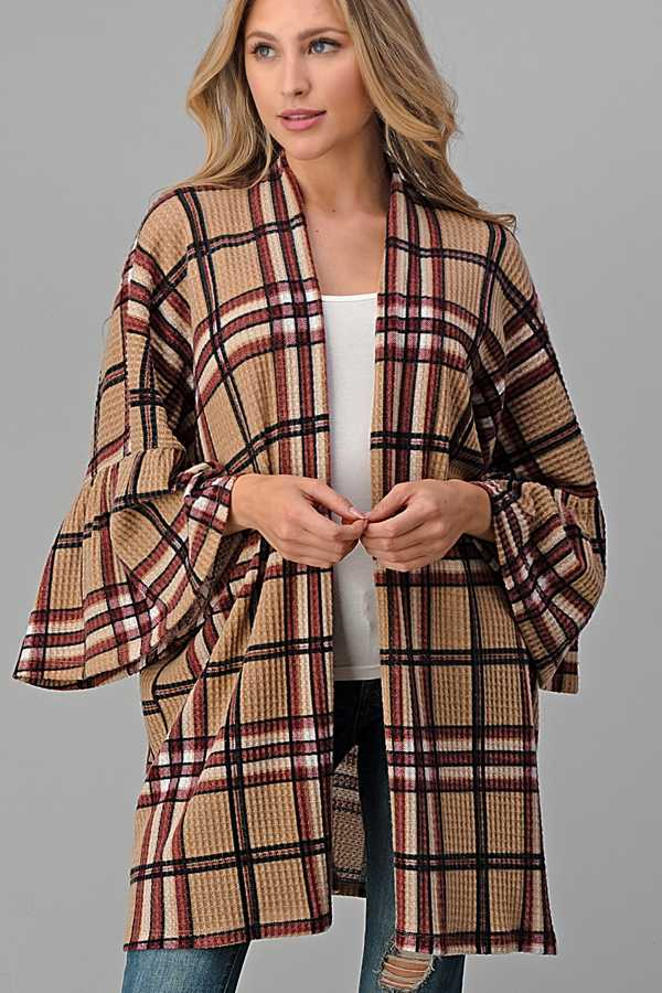 WIDE SLEEVE PLAID CARDIGAN