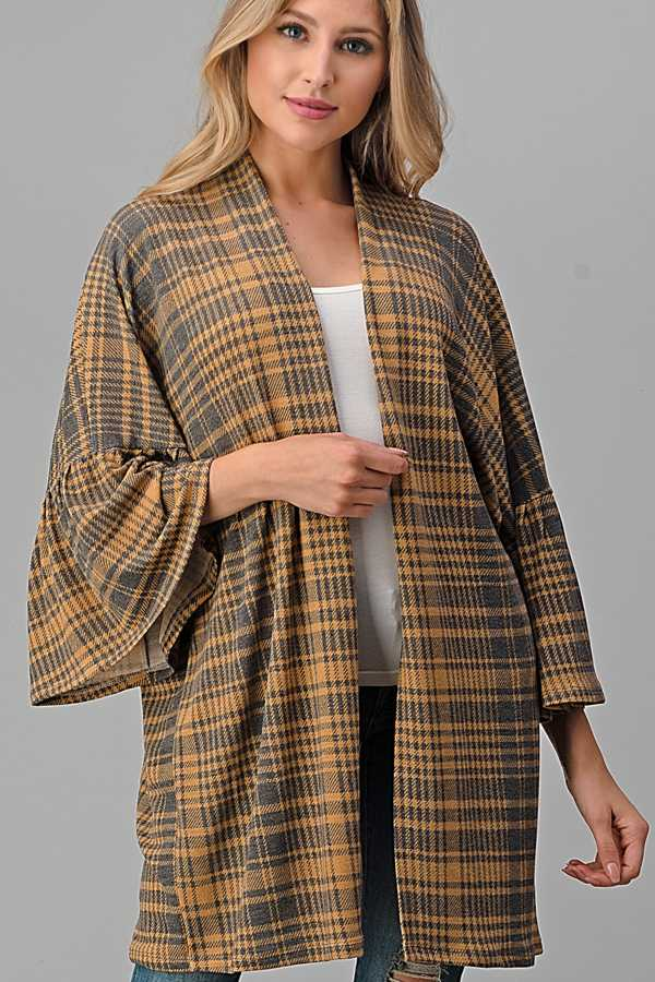 PLUS SIZE-WIDE SLEEVE PLAID CARDIGAN