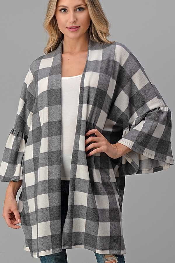 EXTRA PLUS-WIDE SLEEVE PLAID CARDIGAN