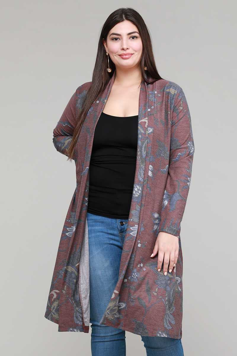 PLUS SIZE FLORAL PRINT OPEN KNIT CARDIGAN