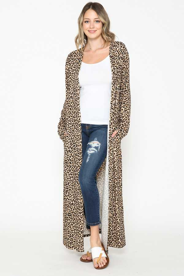 LEOPARD PRINT OPEN LONG CARDIGAN
