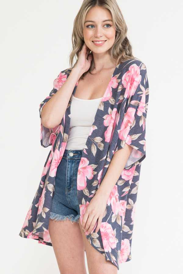 FLORAL PRINT DETAIL OPEN CARDIGAN