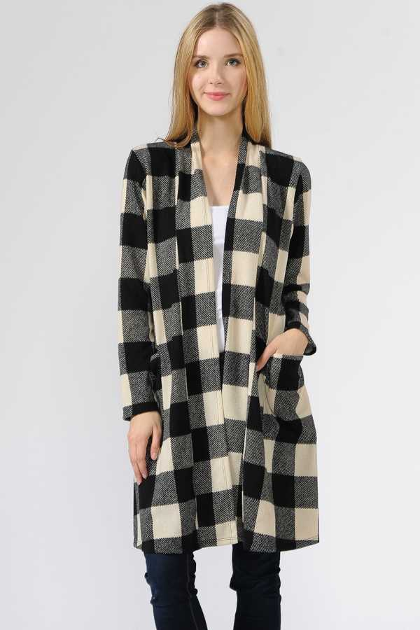 CHECKER PRINT OPEN CARDIGAN WITH POCKETS