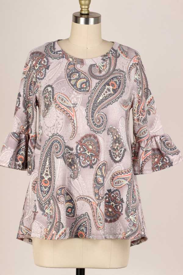 PLUS SIZE-RUFFLE SLEEVE PAISLEY TUNIC TOP