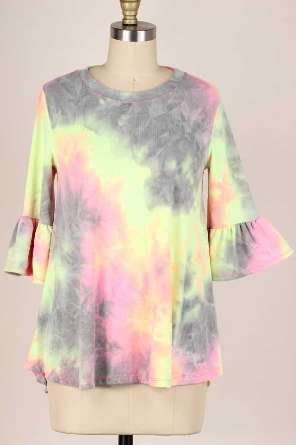 RUFFLE SLEEVE TIE DYE TUNIC TOP