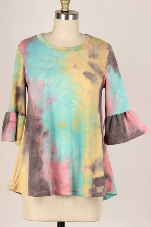 PLUS SIZE-RUFFLE SLEEVE TIE DYE TUNIC TOP