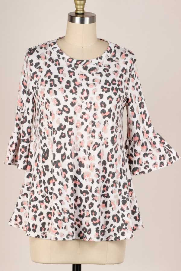 PLUS SIZE-RUFFLE SLEEVE LEOPARD TUNIC TOP