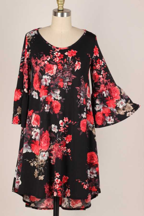 PLUS SIZE-RUFFLE SLEEVE FLORAL PRINT DRESS W POCKETS