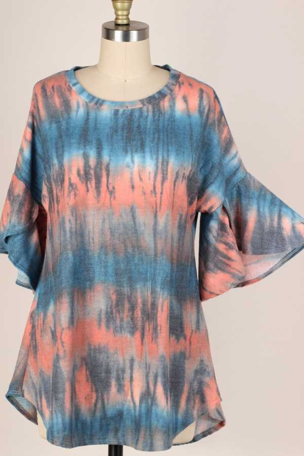 PLUS SIZE-RUFFLE SLEEVE TIE DYE PRINT TUNIC TOP