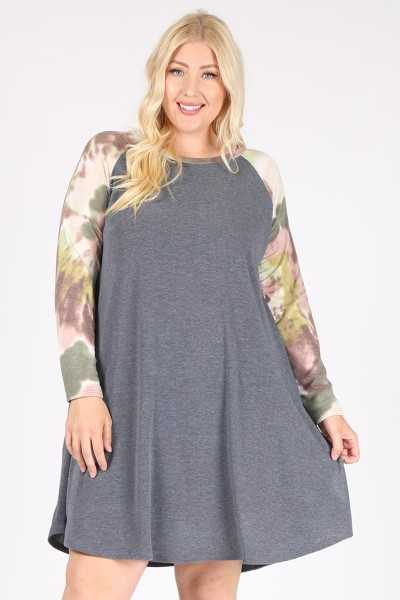 PLUS SIZE-TIE DYE PRINT SLEEVE DRESS W POCKETS