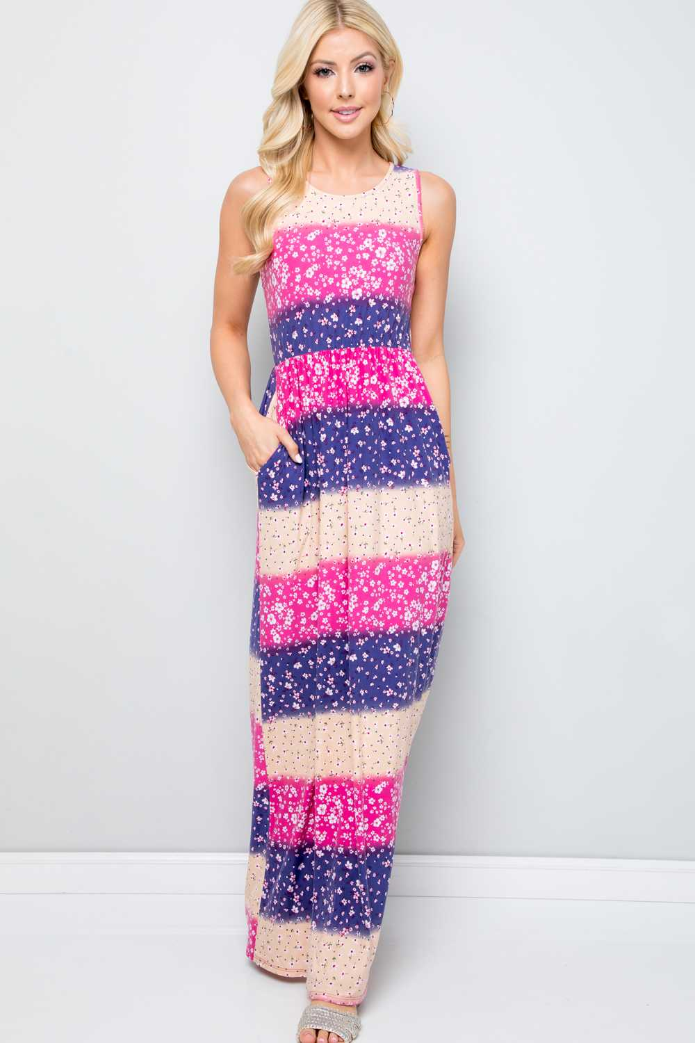 FLORAL STRIPE PRINT MAXI DRESS