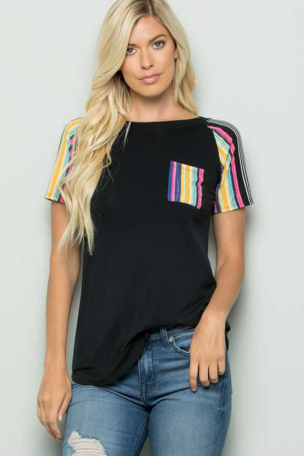 STRIPE POCKET CONTRAST TUNIC TOP