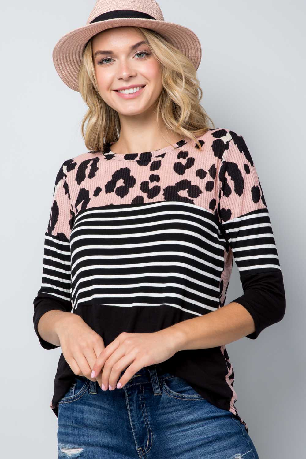 PLUS SIZE STRIPE ANIMAL PRINT COLOR BLOCK TUNIC TOP