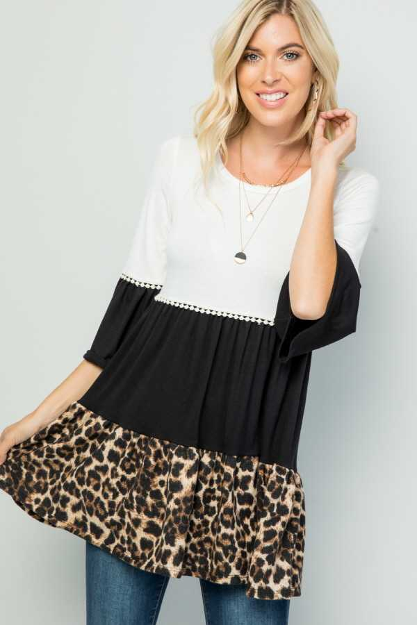 PLUS SIZE LEOPARD CONTRAST RUFFLE DETAILED TOP