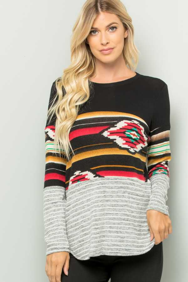 AZTEC PRINT CONTRAST LONG SLEEVE TOP