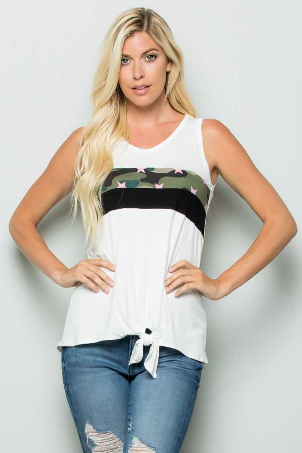 PLUS SIZE CAMOUFLAGE PRINT DETAILED SLEEVELESS TOP