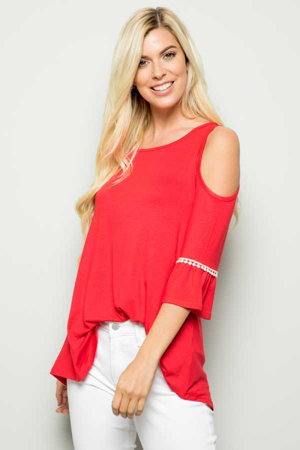 OPEN SHOULDER DETAILED TUNIC TOP