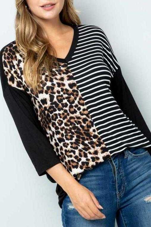 EXTRA PLUS SIZE-3/4 SLEEVE ANIMAL STRIPE PRINT TUNIC TOP