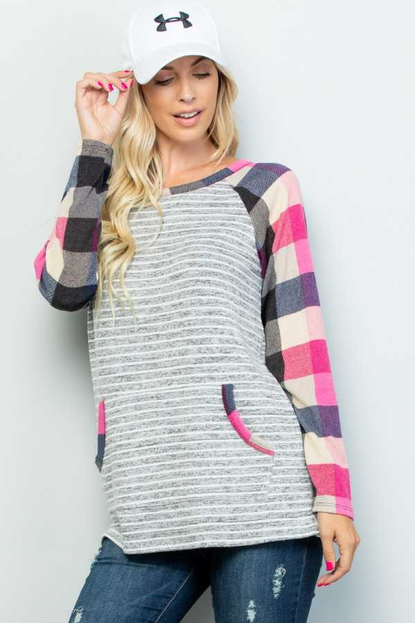 CHECKER SLEEVE CONTRAST STRIPED TOP WITH POCKETS