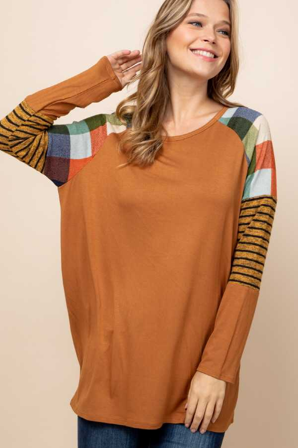 PLUS SIZE CHECKER STRIPE SLEEVE CONTRAST DETAILED TOP