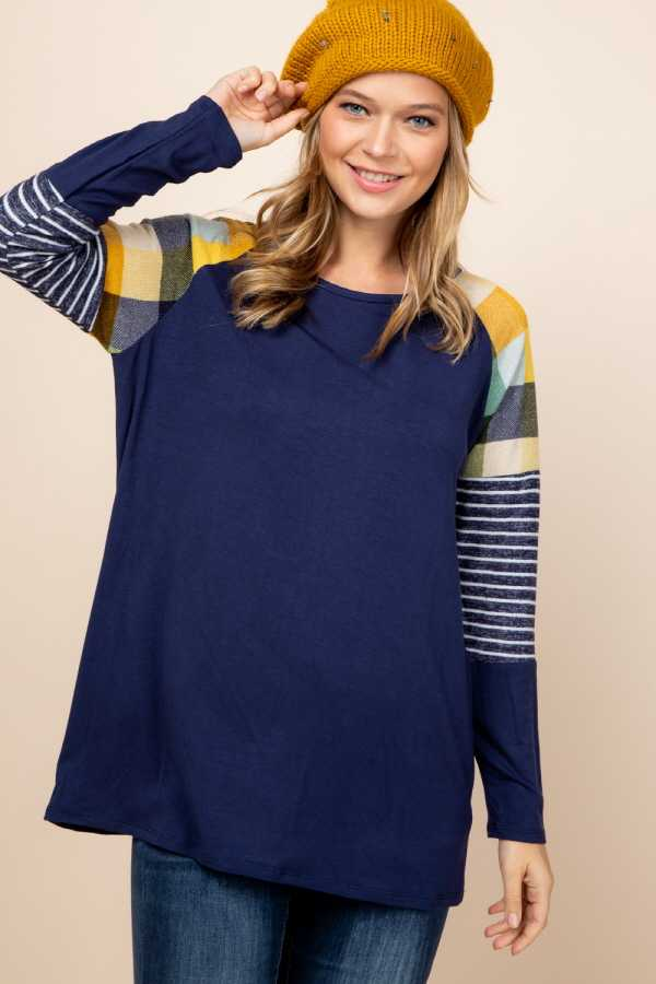 CHECKER STRIPE SLEEVE CONTRAST DETAILED TOP