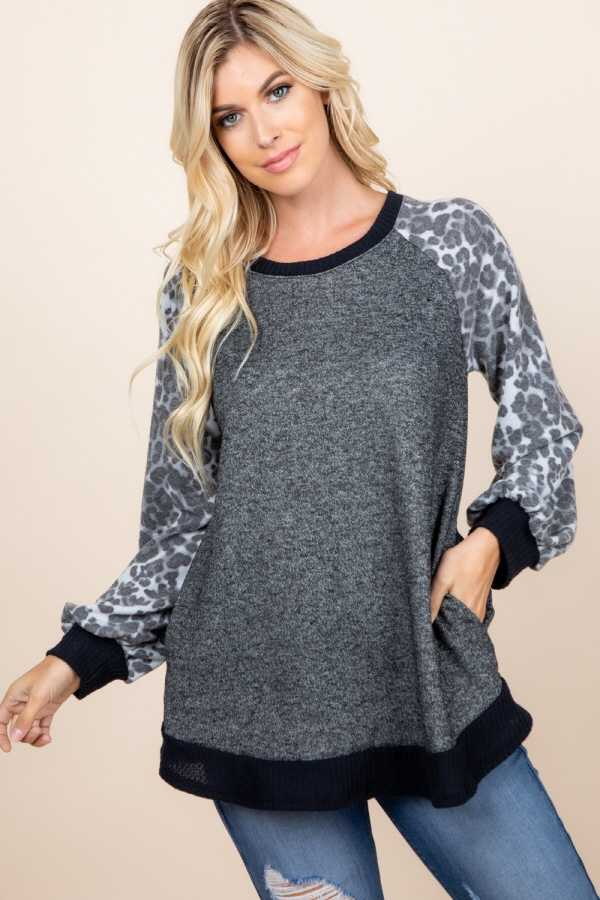 PLUS SIZE LEOPARD PRINT SLEEVE CONTRAST DETAILED TOP