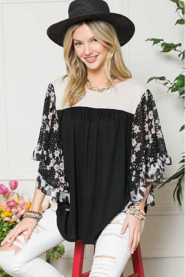 FLORAL PRINT DETAIL WIDE SLEEVE TUNIC TOP