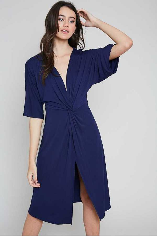 KNOTTED WAIST SOLID WRAP DRESS