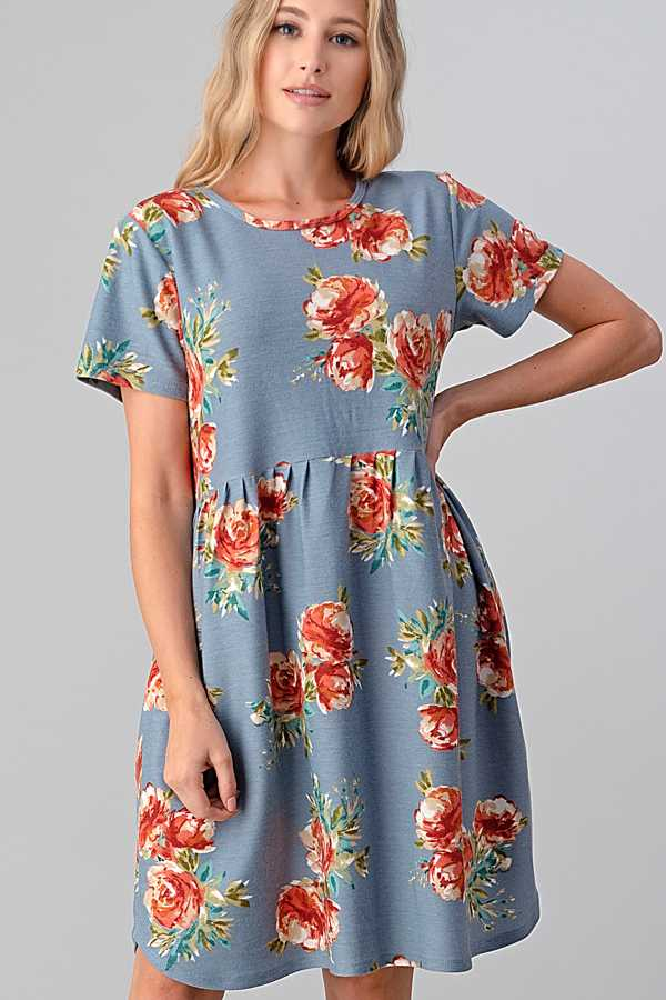 6/12 PRE ORDER PLUS SIZE FLORAL PRINT DRESS WITH POCKETS