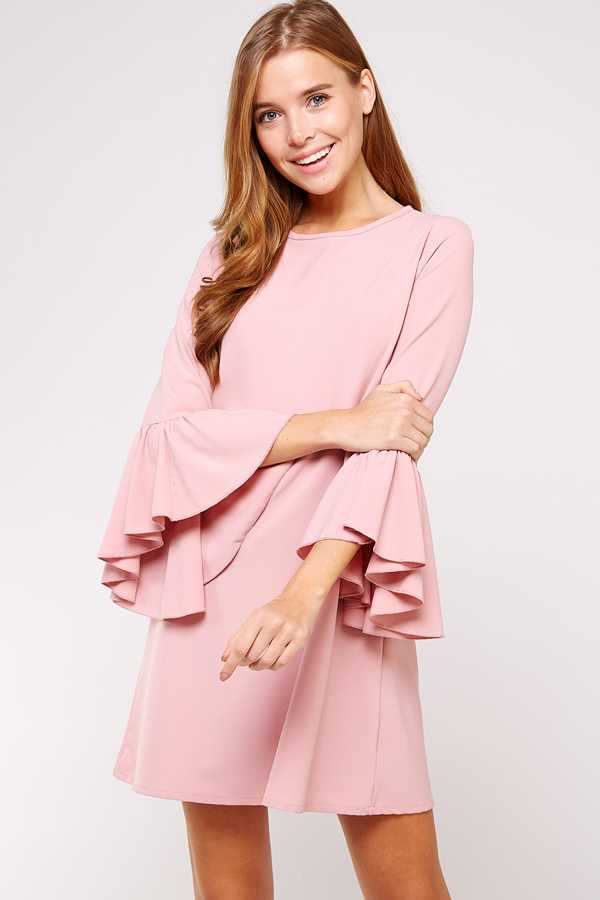 RUFFLE BELL SLEEVE SOLID DRESS