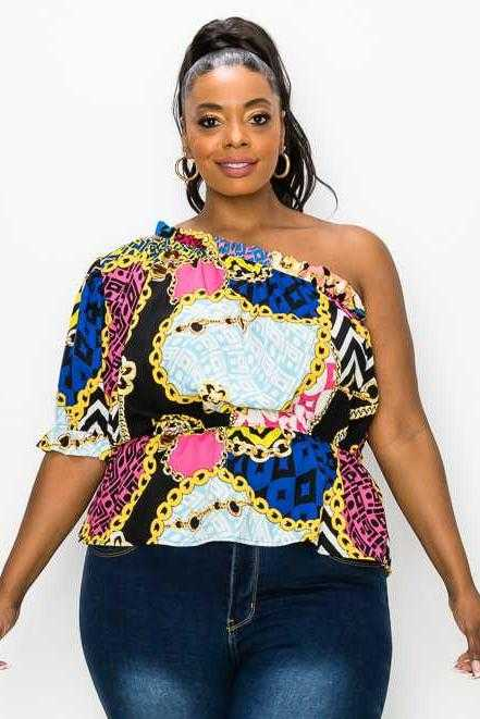 PLUS SIZE-ONE SHOULDER MIX PRINT TUNIC TOP