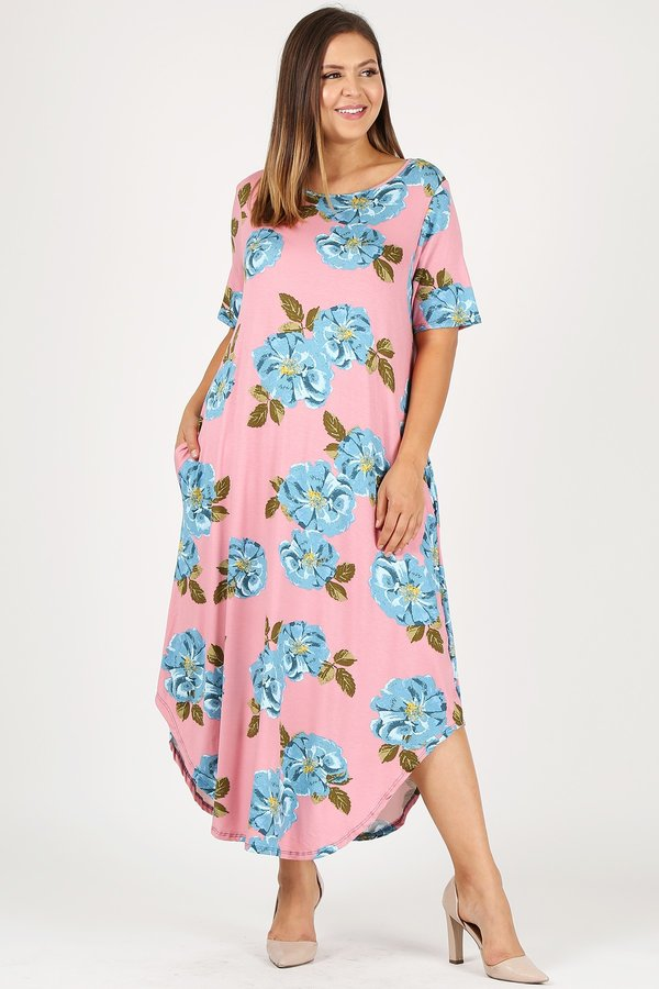 PLUS SIZE FLORAL PRINT MIDI DRESS WITH POCKETS