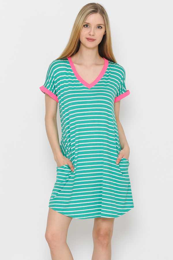 CONTRAST TRIM STRIPED DRESS WITH POCKETS