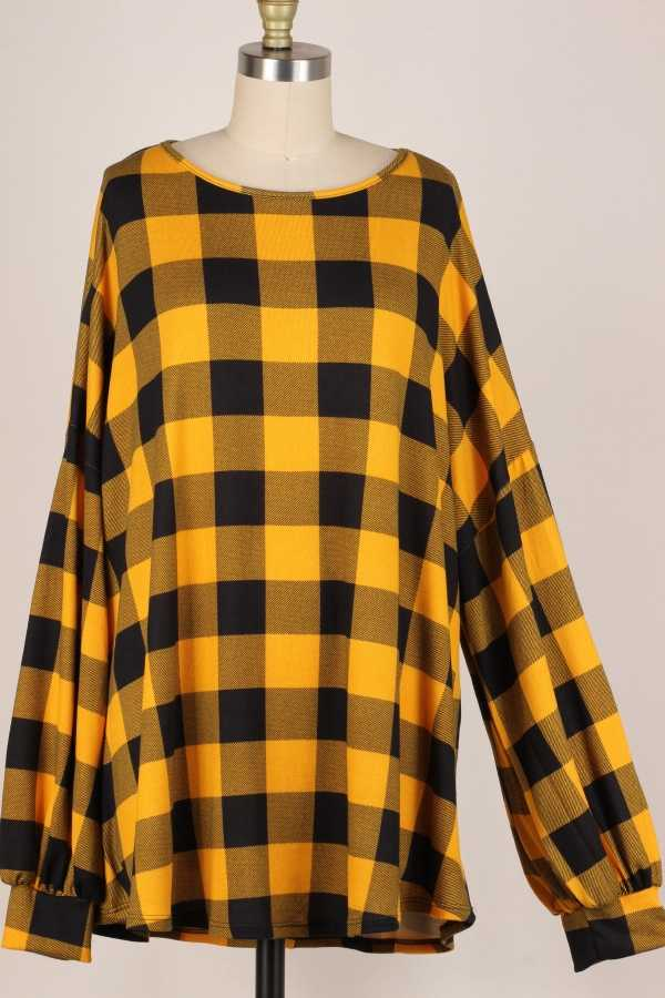 EXTRA PLUS-PUFF SLEEVE PLAID TUNIC TOP