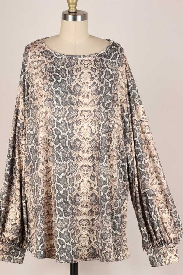 EXTRA PLUS-PUFF SLEEVE SNAKE PRINT TUNIC TOP