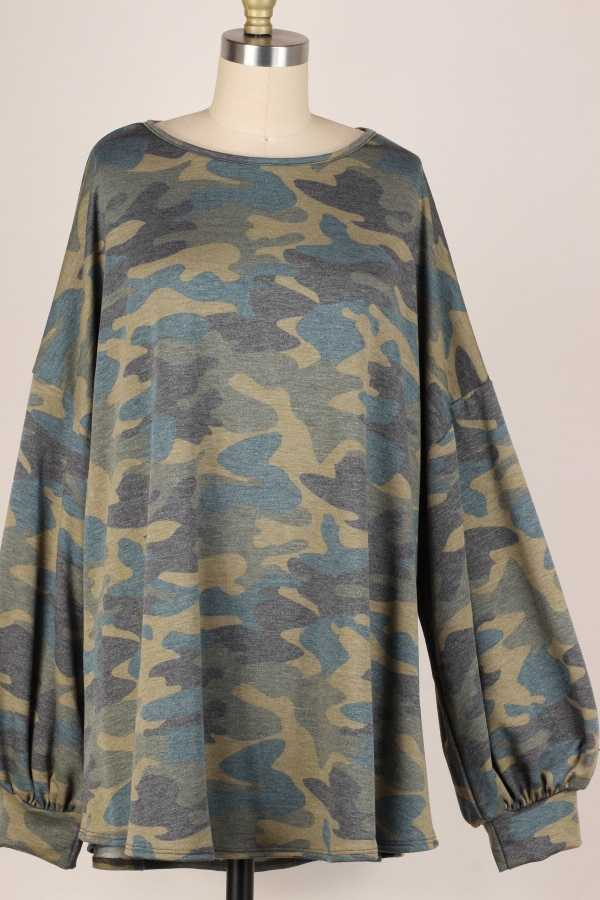 EXTRA PLUS-PUFF SLEEVE CAMO PRINT TUNIC TOP