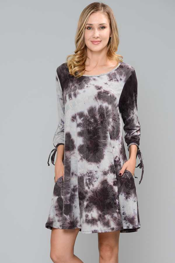 PLUS SIZE TIE DYE DETAILED DRESS WITH POCKETS