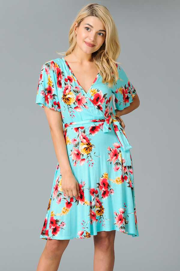 RIBBON WAIST FLORAL PRINT WRAPPED DRESS