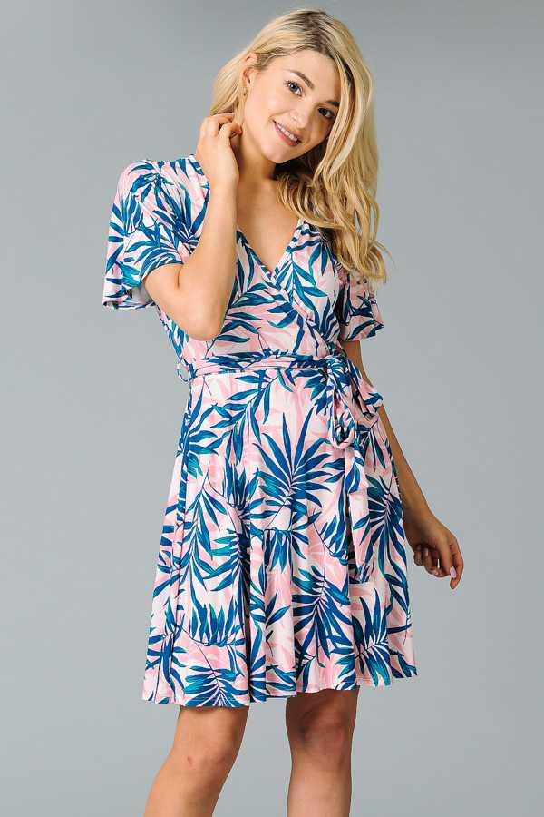 RIBBON WAIST LEAF PRINT WRAPPED DRESS