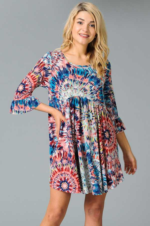 PLUS SIZE RUFFLED MEDALLION PRINT DRESS